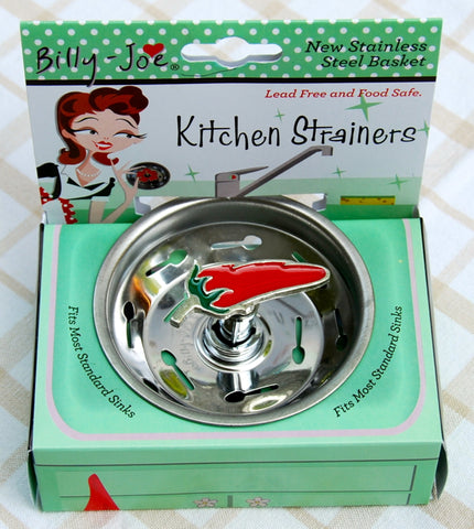 Enamel Chili Pepper Stainless Steel Sink Strainer