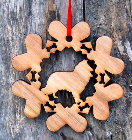 Cherry Wood Laser Cut Dog Bone Snowflake Christmas Ornament - Collie Shetland Sheepdog
