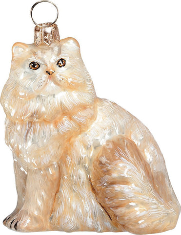 The Pet Set Cream Persian Glass Christmas Ornament - Handcrafted in Europe by Joy to the World Collectibles