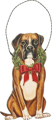 Flop Ear Boxer Dog Wooden Hanging Christmas Tree Ornament