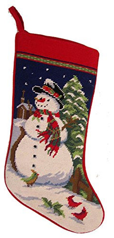 Winter Festive Snowman Needlepoint Christmas Stocking