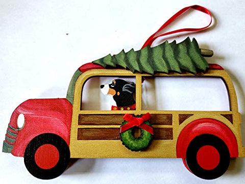 Dandy Design Greater Swiss Mountain Dog Woody Woodie Car Wooden 3-Dimensional Christmas Ornament - USA Made.