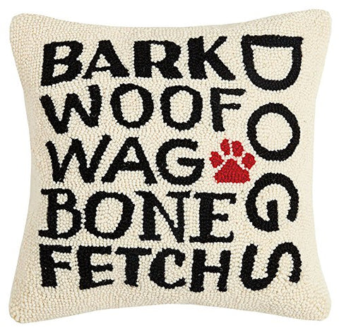"Bark Woof Wag Dog Lover Hooked Wool Throw Pillow - 16"" x 16"""