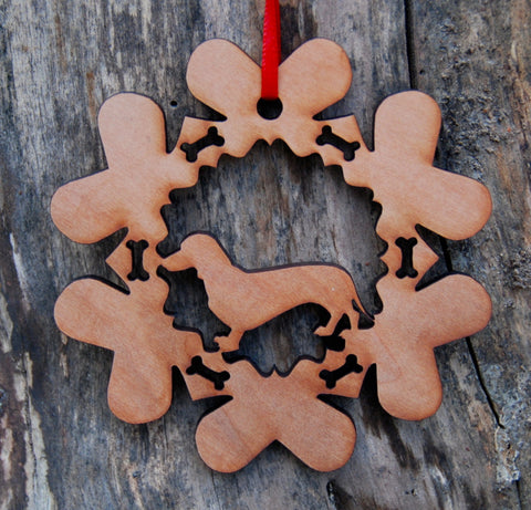Cherry Wood Laser Cut Dog Bone Snowflake Christmas Ornament - Dachshund