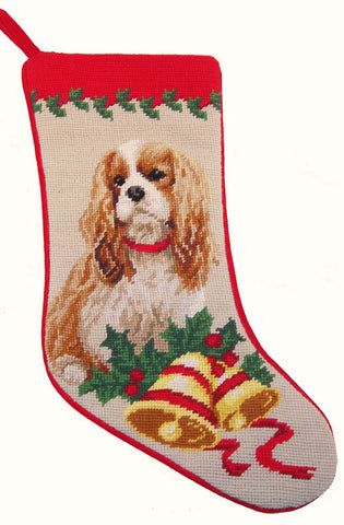 "Blenheim Cavalier King Charles Spaniel Dog Christmas Needlepoint Stocking - 11"" x 18"""