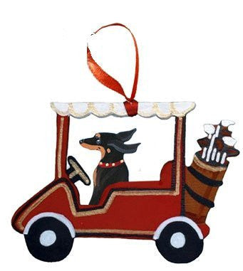 Golf Cart Dog Wood 3-D Hand Painted Ornament - Black & Tan Dachshund