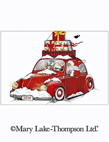 "Mary Lake Thompson Christmas Gifts Vintage Bug Car 100% Cotton Flour Sack Dish Tea Towel 30"" x 30"""