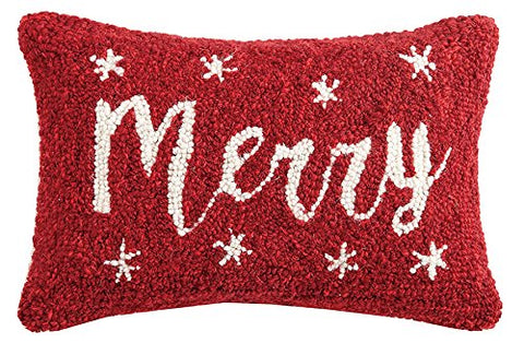 "Christmas Merry Mini Wool Hooked Pillow - 8"" X 12"""