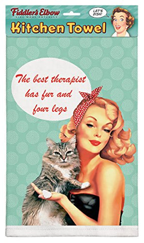 """The Best Therapist Has Fur & Four Legs-Cat Therapist"" Cotton Dish Towel"