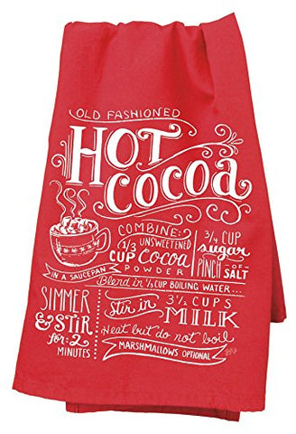 "Hot Cocoa Chalkboard Christmas Cotton Dish Towel - 26"" square"