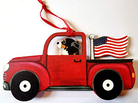Dandy Design Bernese Mountain Dog Retro Flag Truck Wooden 3-Dimensional Christmas Ornament - USA Made.