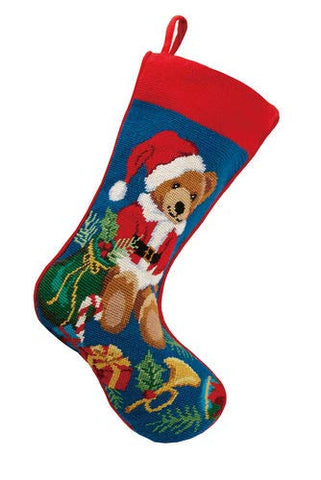 "Santa Teddy Bear with Presents Needlepoint Christmas Stocking, Wool, 11"" x 18"""
