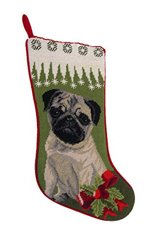 Elegant Decore Pug Tan Needlepoint Christmas Stocking