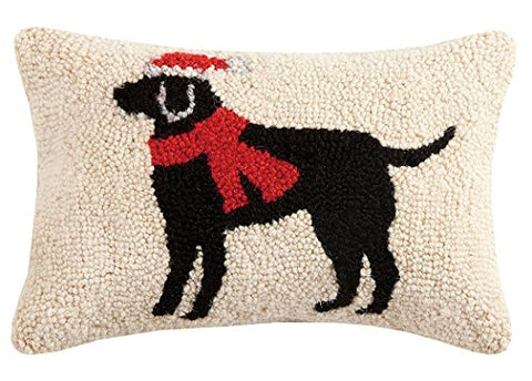 "Black Lab Christmas Dog Mini Hooked Wool Pillow - 8"" X 12"""