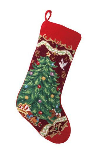 Christmas Tree with Toy Train Stocking, Wool Needlepoint, 11 Inch X 18 Inch