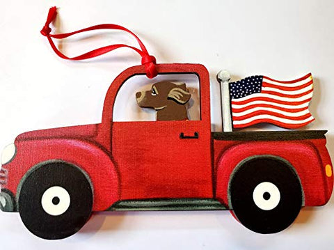 Dandy Design Chocolate Labrador Retriever Dog Retro Flag Truck Wooden 3-Dimensional Christmas Ornament - USA Made.