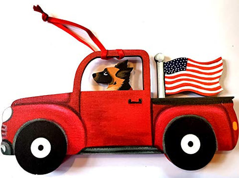 Dandy Design German Shepherd Dog Retro Flag Truck Wooden 3-Dimensional Christmas Ornament - USA Made.