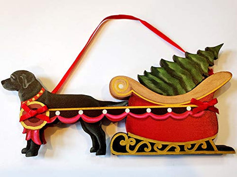 Dandy Design Black Labrador Retriever Dog Sleigh Pull Wooden 3-Dimensional Christmas Ornament - USA Made.