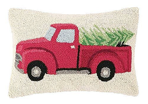 "Tree Haul Christmas Truck 12x18"" Wool Hooked Pillow"