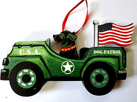 Dandy Design Black Labrador Retriever Dog Retro Flag Jeep Patrol Wooden 3-Dimensional Christmas Ornament - USA Made.