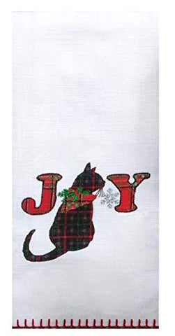 Kay Dee Designs - Holiday Kitties Applique Joy, Dual Purpose Dish Towel, 16 x 26
