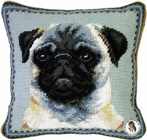 "Fawn Pug Dog Portrait - 10"" Needlepoint Dog Pillow"