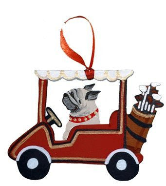 Golf Cart Dog Wood 3-D Hand Painted Ornament - Fawn Pug
