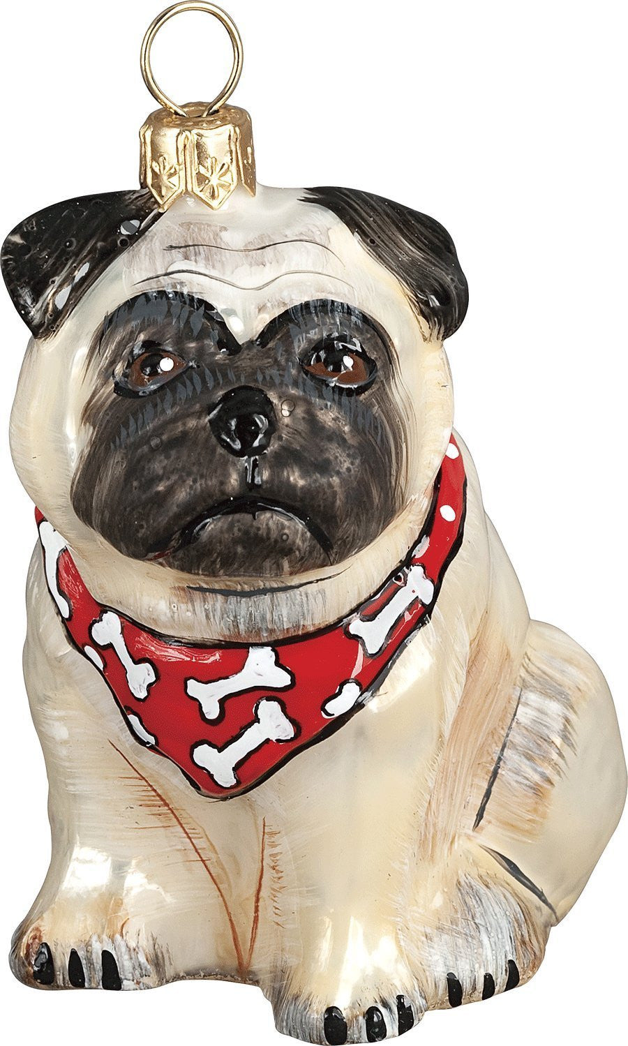 the pet set fawn pug with bandana glass christmas ornament handcrafted in europe by joy to the world collectibles