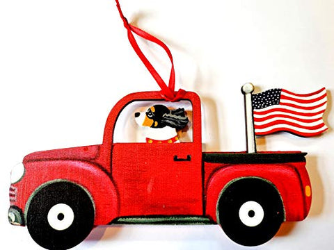 Dandy Design Tri Cavalier King Charles Spaniel Dog Retro Flag Truck Wooden 3-Dimensional Christmas Ornament - USA Made.