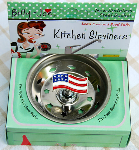 Enamel American Flag Stainless Steel Sink Strainer