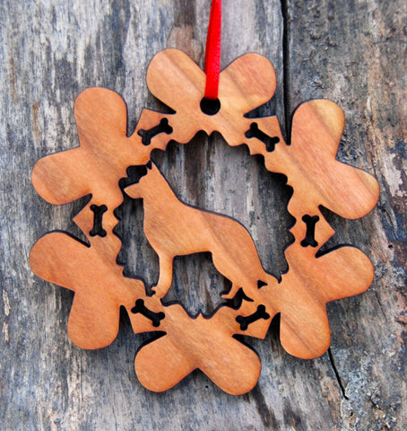 Cherry Wood Laser Cut Dog Bone Snowflake Christmas Ornament - German Sherpherd