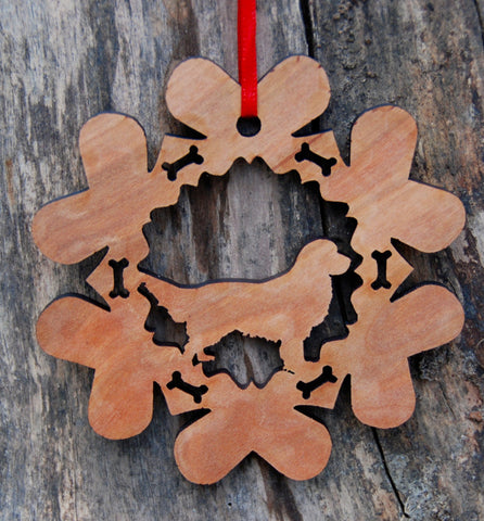 Cherry Wood Laser Cut Dog Bone Snowflake Christmas Ornament - Golden Retriever