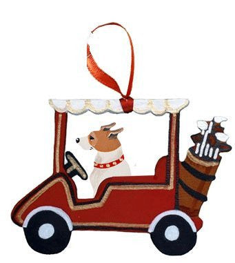 Golf Cart Dog Wood 3-D Hand Painted Ornament - Jack Russell Terrier
