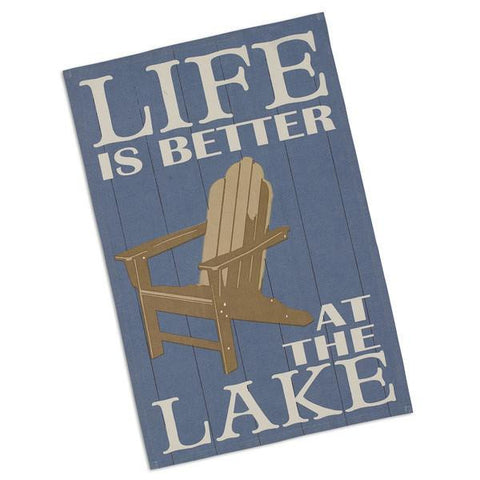 "Life Is Better At The Lake House 100% Cotton Dish Towel / Tea Towel, 18"" x 28"""