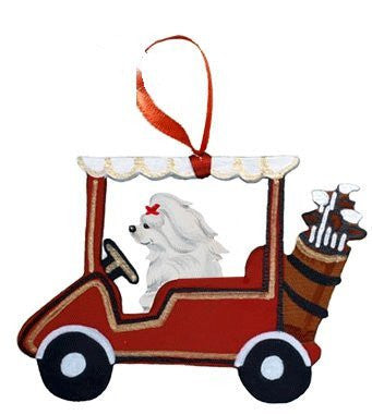 Golf Cart Dog Wood 3-D Hand Painted Ornament - Maltese