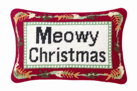 "Meowy Christmas Fish Bones - 9"" x 12"" Needlepoint Cat Pillow"
