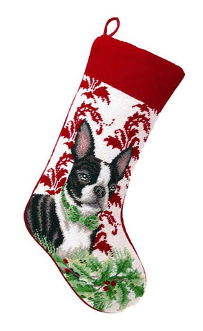 "Boston Terrier Dog Christmas Needlepoint Stocking - 11"" x 18"""