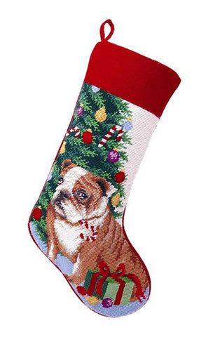 "English Bulldog Christmas Needlepoint Stocking - 11"" x 18"""