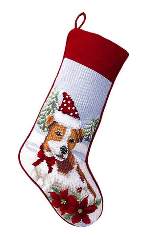 "Jack Russell Terrier Dog Christmas Needlepoint Stocking - 11"" x 18"""