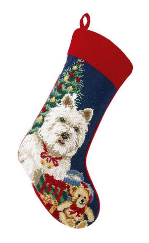 "West Highland White Terrier Dog Christmas Needlepoint Stocking - 11"" x 18"""