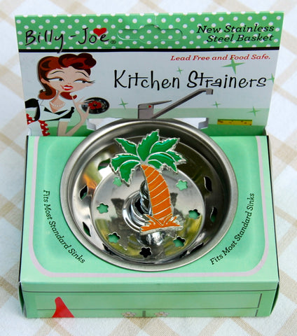 Enamel Tropical Palm Tree Stainless Steel Sink Strainer