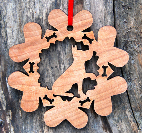 Cherry Wood Laser Cut Dog Bone Snowflake Christmas Ornament - Staffordshire Terrier Pit Bull