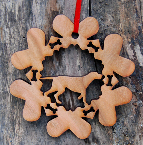 Cherry Wood Laser Cut Dog Bone Snowflake Christmas Ornament - German Short Hair Pointer