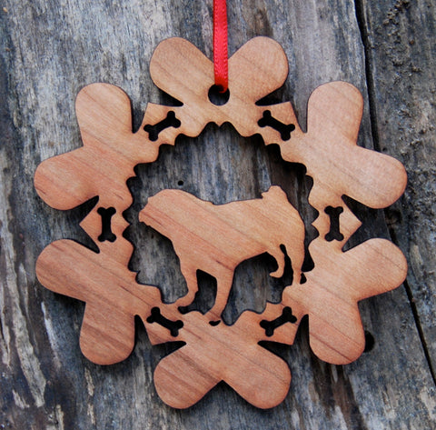Cherry Wood Laser Cut Dog Bone Snowflake Christmas Ornament - Pug