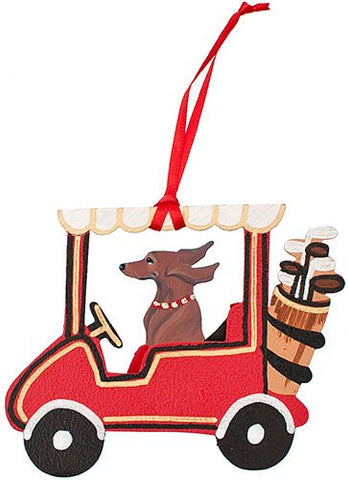 Golf Cart Dog Wood 3-D Hand Painted Ornament - Red Smooth Dachshund