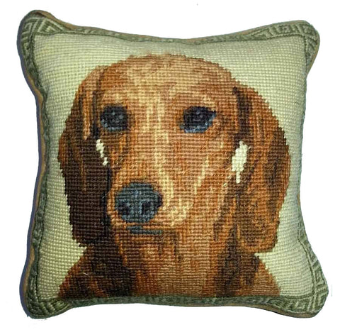 "Smooth Red Dachshund Dog Portrait - 10"" Needlepoint Dog Pillow"