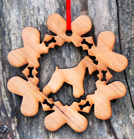 Cherry Wood Laser Cut Dog Bone Snowflake Christmas Ornament - Schnauzer