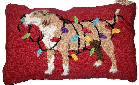 "American Staffordshire Terrier Dog Holiday Christmas Lights - 12"" x 20"" Wool Hooked Pillow"