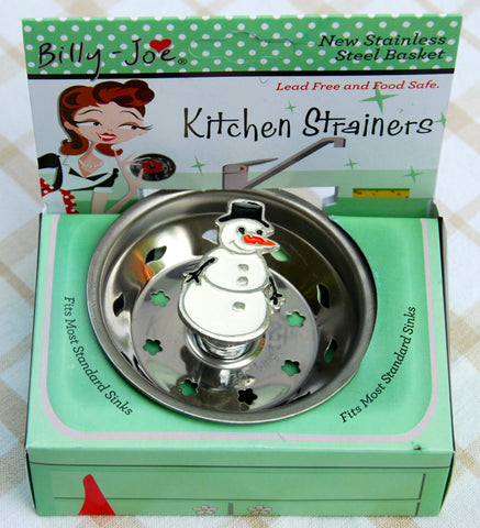 Enamel Winter Snowman Stainless Steel Sink Strainer