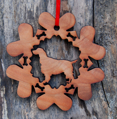 Cherry Wood Laser Cut Dog Bone Snowflake Christmas Ornament - English Springer Spaniel